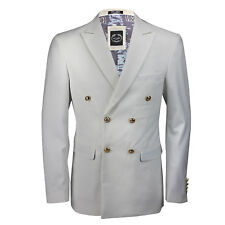 Mens Classic Slim Fit Double Breasted Blazer Gold Buttons Vintage Jacket White