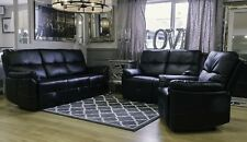 Recliner Sofa Suite 3 2 1 Seater Black Faux Leather New Modern Chair Upholstered