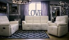 Recliner Sofa Suite 3 2 1 Seater Cream Faux Leather New Modern Chair Upholstered