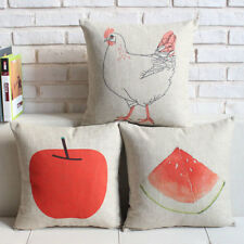 Cushion Cover Throw Pillow Case Linen- Happy Farm Cute Hen Apple Watermelon Gift