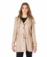 Giacca in pelle donna TRENCH • colore beige • trench in pelle nappa effetto lisc