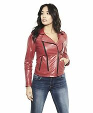 Giacca in pelle donna BROOK • colore rosso • giacca biker in pelle nappa effetto