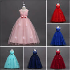New Formal Tulle Lace Princess Wedding Girls Dress Bridesmaid Party Kids Clothes