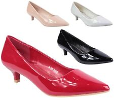 WOMENS KITTEN HEEL PATENT COURT PUMPS POINTY TOE COURT SHOES SIZE 3-8