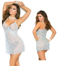 Lace Chemise W/Floral Applique, Bridal, Bride Lingerie, Wedding, Sexy Baby Blue