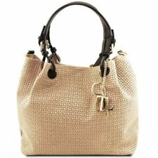 TL KeyLuck - Borsa shopping in pelle stampa intrecciata Tuscany Leather
