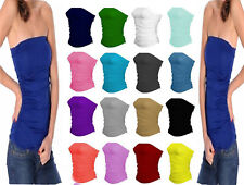 Ladies Womens Bandeau Vest Top Sleeveless Ruched Boob Tube Sizes 8-26