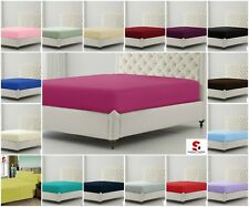 PLAIN DYED PERCALE FITTED BED SHEETS PILLOW CASE POLY COTTON SINGLE DOUBLE KING