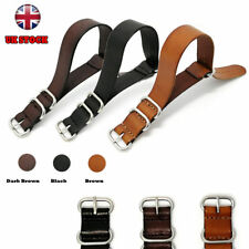 For Nato Watch Strap Band Genuine Leather Military G10 MoD SS. Buckle Spring Bar