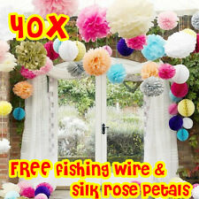 12/40 Mixed Tissue Paper Pompoms Pom Poms Wedding Party Flower Balls Decoration