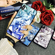 Luxury Slim 3D Bling Diamond Tempered Glass Phone Case Cover For iPhone X 8 7 6