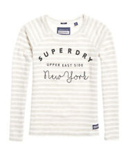 Superdry Womens Applique Raglan Top Pacific Grey Marl Stripe *SAME DAY DISPATCH*