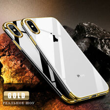 Ultra Slim Luxury Plating TPU Crystal Clear Phone Case Cover For iPhone X 8 7 6
