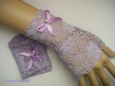 Fingerless gloves mittens wrist warmers stretchable lace white black plum purple