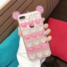 Luxury Cute 3D Ears Glitter Love Heart Soft Phone Case Cover For iPhone X 8 7 6