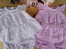 Broderie Anglaise Baby Traditional 2Pcs Set White Pink Dress & Bloomers 0-3-6-9m