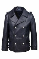 Men's 8971 navy Miltary Design Fitted Real Cow Hide Leather Jacket