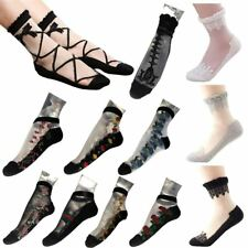 Ladies New Ultra Thin Sheer Transparent Floral Crystal Silk Rose Lace Socks