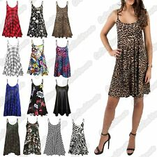 New Ladies Sleeveless Strappy Flare Swing Mini Dress Long Camisole Cami Vest Top