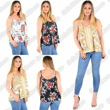 New Ladies Sleeveless Floral Print Flared Strappy Camisole Summer Cami Vest Top