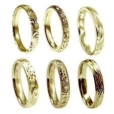 Hand Engraved 18ct Yellow Gold 3mm Wedding Rings Court Comfort NEW UK HM Bands