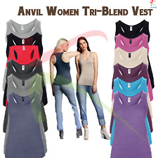 ANVIL Women's Triblend Racerback Tank Top Soft Sleeveless Athletic Vest T-shirt