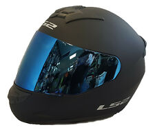 LS2 FF352 ROOKIE CASCO INTEGRALE MOTO NERO OPACO IN BLU IRIDIUM VISIERA