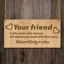 Personalised Friendship Sign Best Friend Plaque Chic Heart–Wooden Engraved Gift