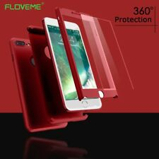 Ultra Thin Full Protective Phone Case+Tempered Glass Cover For iPhone X 5 6 7 8