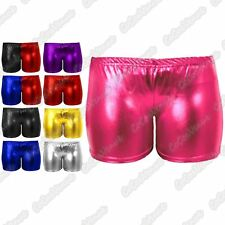 New Girls Kids Wet Look Metallic Shiny Stretchy Hot Pants Dance Wear Shorts