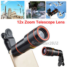 HOT !! Clip-on 12x 8x Zoom HD Telescope Camera Lens For Universal Cell