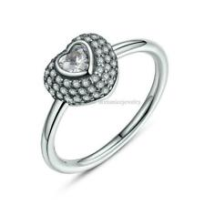 BEST New GİFT 925 Silver Ladies Heart Cut Wedding Engagement Bridal Ring