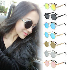 Unisex Vintage Fashion Round Frame Metal Mirrored Sunglasses Eyewear Glasses