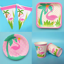 1 Set Flamingo Disposable Paper Plate Cup Flag Birthday Wedding Party Tableware