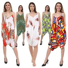 Womens Strappy Cami Style Lagenlook Romper Hareem Bagy Printed Jumpsuit Playsuit