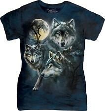 Mountain Donna Adulto Moon Wolves Collage Wolves Maglietta