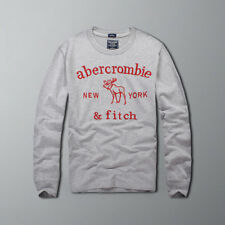 Abercrombie & Fitch Men Long Sleeve Muscle fit Grey T-shirt Tee Size S-XXL