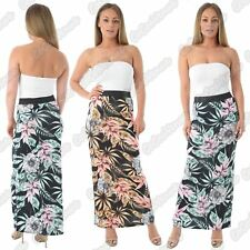 New Ladies Floral Tropical Leaf Print Elasticated Jersey Summer Gypsy Maxi Skirt