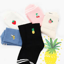 Fashion Embroidery Fruit Design Women Cotton Sock Lady Spring Summer Casual Sock