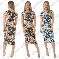 New Ladies Cap Sleeve Tropical Floral Leaf Printed Bodycon Summer Midi Dress
