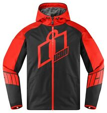 Icon Merc Crusader Hooded Motorcycle Motorbike Jacket Red/Black | All Sizes
