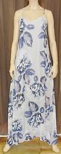 CHARLOTTE SPARRE SILK SLEEVELESS GREY AND BLUE FLORAL PRINT MAXI DRESS BNWT