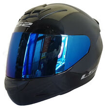 LS2 FF352 ROOKIE CASCO INTEGRAL Motocicleta ACCIDENTE Negro azules Iridio Visera