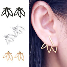 Fashion Elegant Hollow Three Leaves Lotus Flower Earrings Ear Studs Jewelry