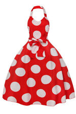 Ladies Retro Vintage 1950's Halter Neck Swing Pin Up Polka Dot Rockabilly Dress