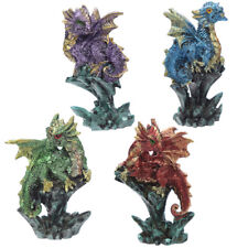 Cute Baby Dragon on Rock Crystal Figurines Ornaments Small Dragons Decor Gift