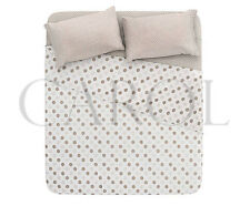 COMPLETO LENZUOLA POIS 100% COTONE MADE IN ITALY - BEIGE