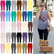 New Ladies Plain Gym Yoga Workout Slim Fit 3/4 Length Capri Pants Crop Leggings