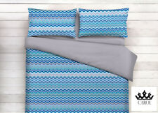 COMPLETO LENZUOLA ZIG ZAG 100% COTONE MADE IN ITALY - BLU