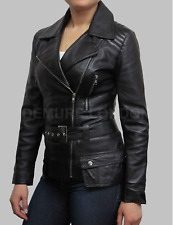 Women's Advanced Brando Style Biker Genuine Sheep/Cowhide Leather Jacket